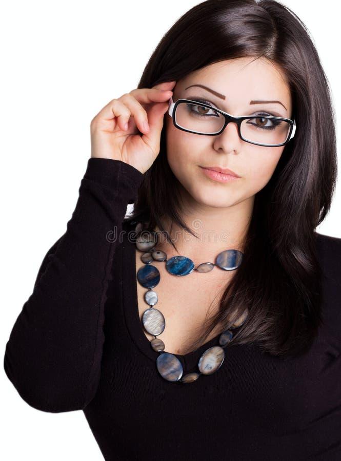 Mooi meisje dat glazen draagt royalty-vrije stock afbeeldingen