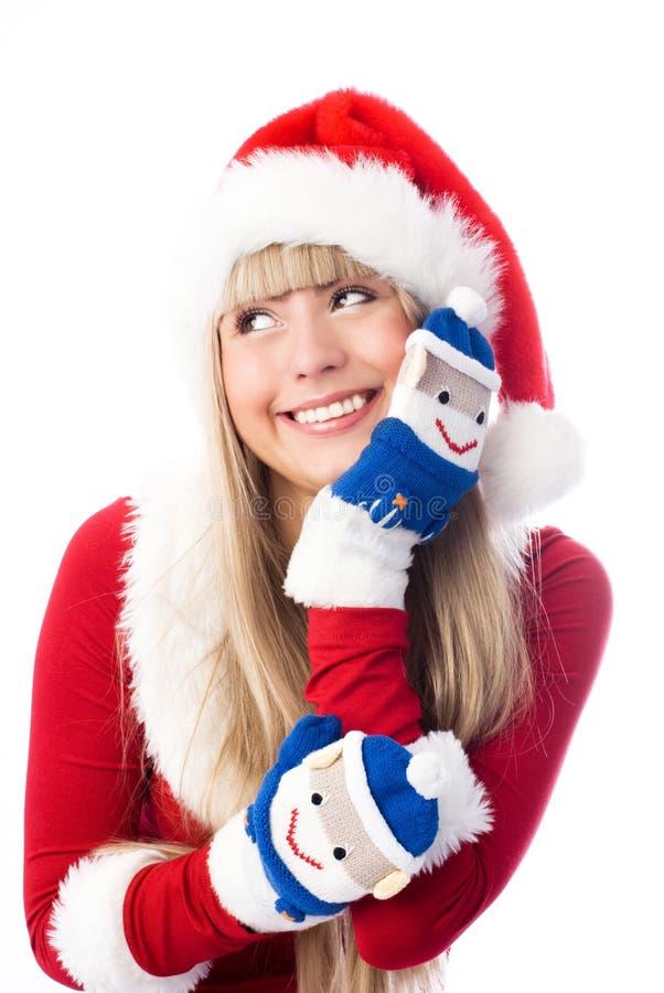 Mooi meisje dat grappige vuisthandschoenen draagt stock afbeelding
