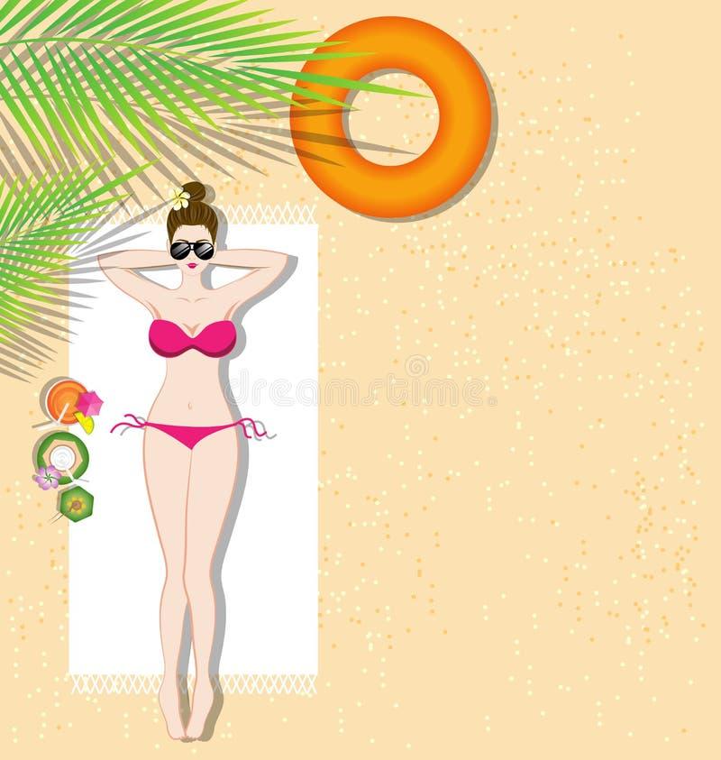 Mooi meisje dat op het strand ligt vector illustratie