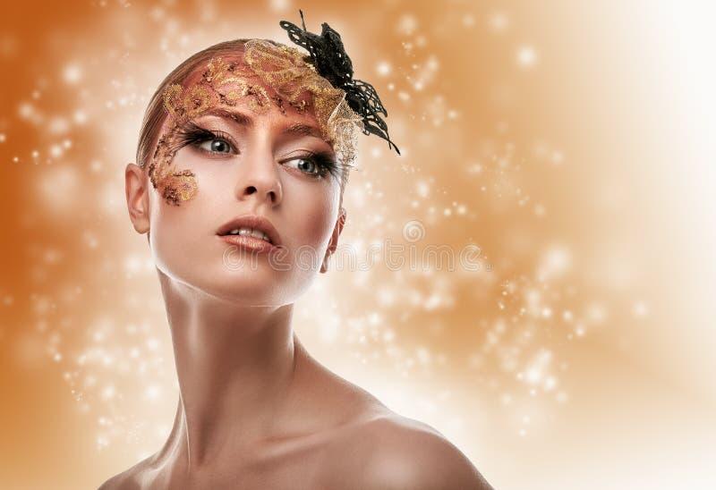 Mooi meisje De creatieve Make-up van de Manier stock afbeeldingen