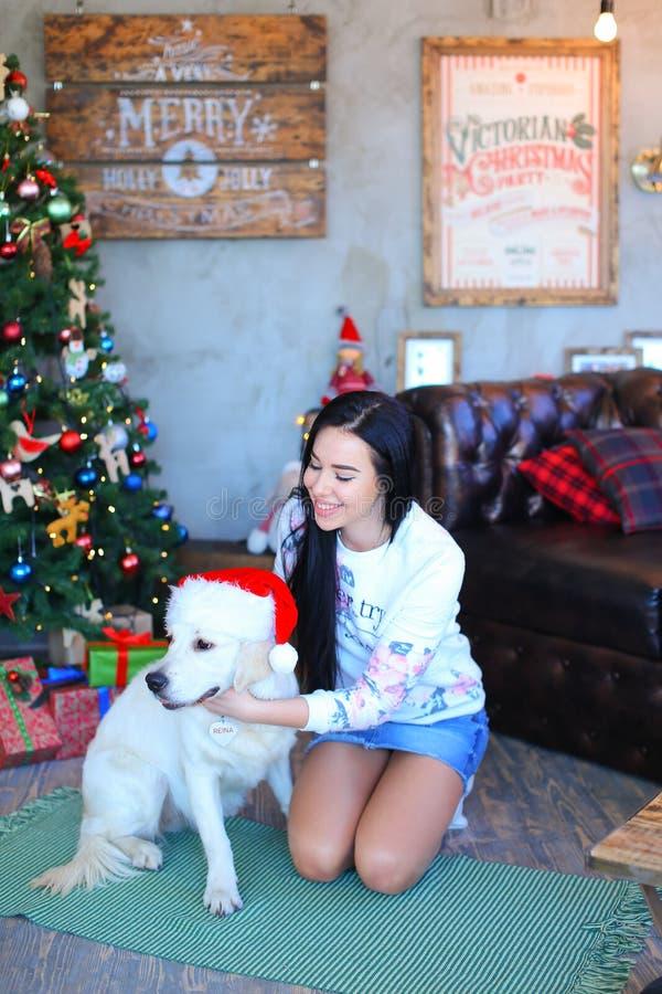 Mooi meisje die en hond in studio op achtergrond D glimlachen koesteren royalty-vrije stock foto's