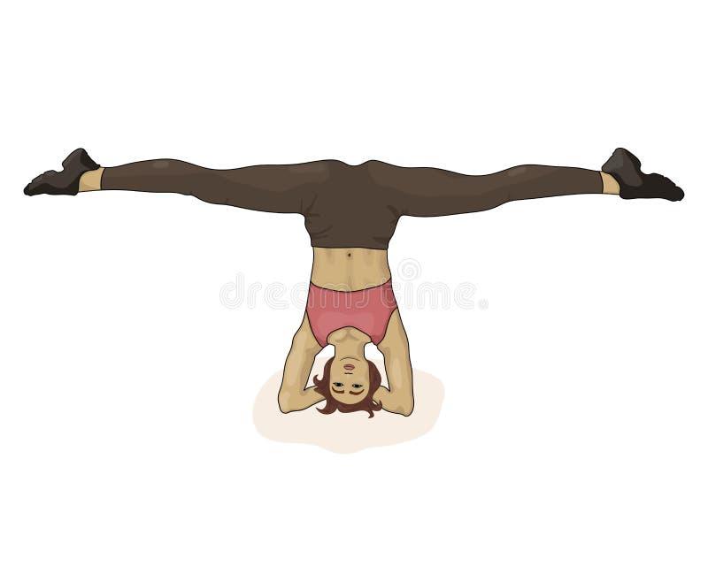 Mooi meisje die headstand doen Uitrekkende benen Vector illustratie De vrouw gaat binnen voor sporten royalty-vrije illustratie