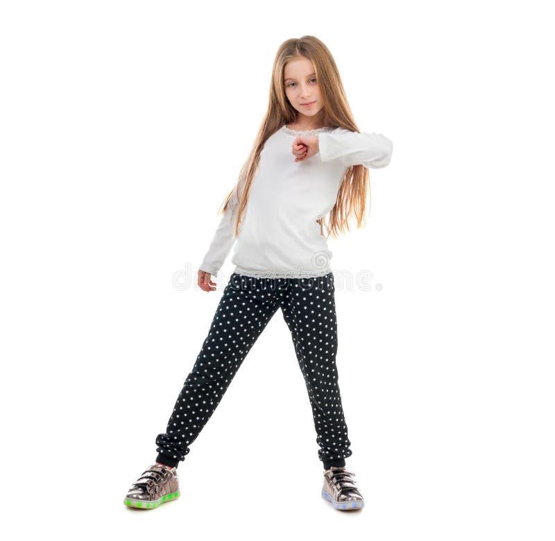 Mooi meisje die met een truc op tenen dansen royalty-vrije stock afbeelding