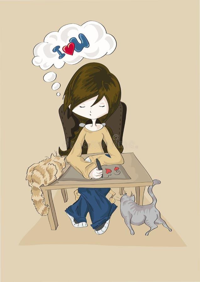 Mooi meisje die met twee katten romantisch bericht met harten trekken aan haar vriend op beige achtergrond royalty-vrije illustratie