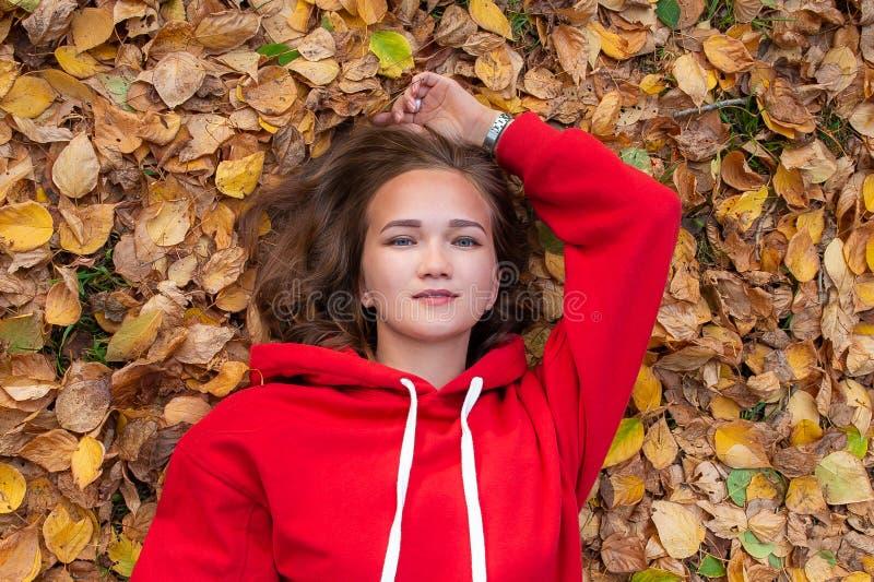 Mooi meisje die op de herfstbladeren in het park liggen royalty-vrije stock foto