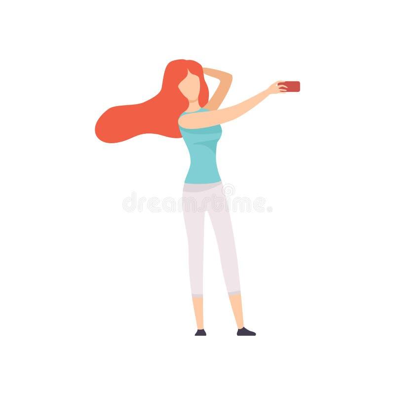 Mooi Meisje die Selfie-Foto op Smartphone nemen, Jonge Vrouw die Foto of Video voor Sociale Media maken die Modern Gadget gebruik vector illustratie