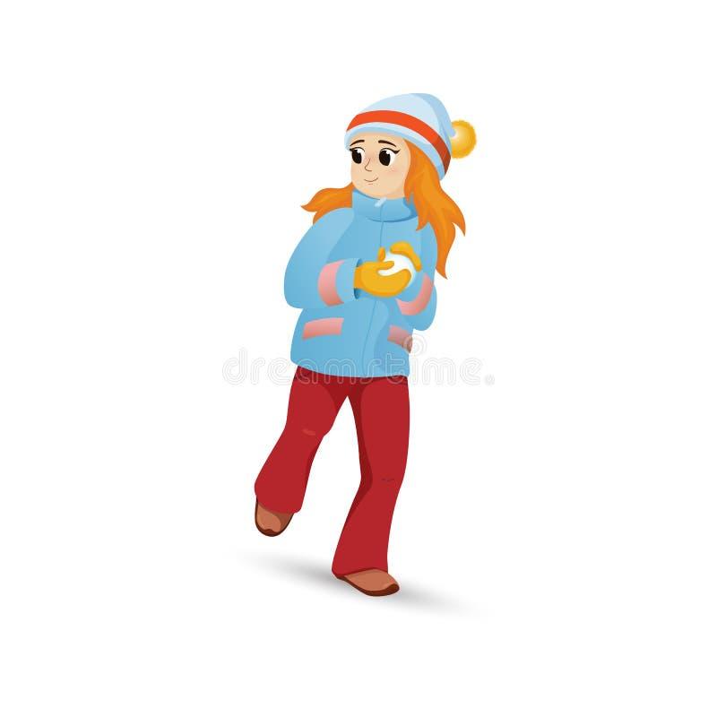 Mooi meisje die in warme kleren sneeuwbal maken stock illustratie