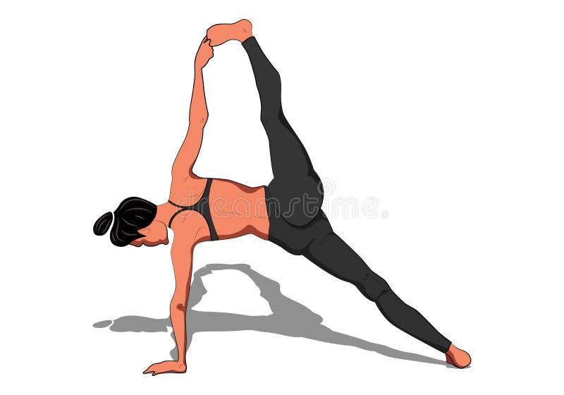 Mooi meisje die yoga uitoefenen Yogaasana Vasishthasana II stelt Vasistha vector illustratie