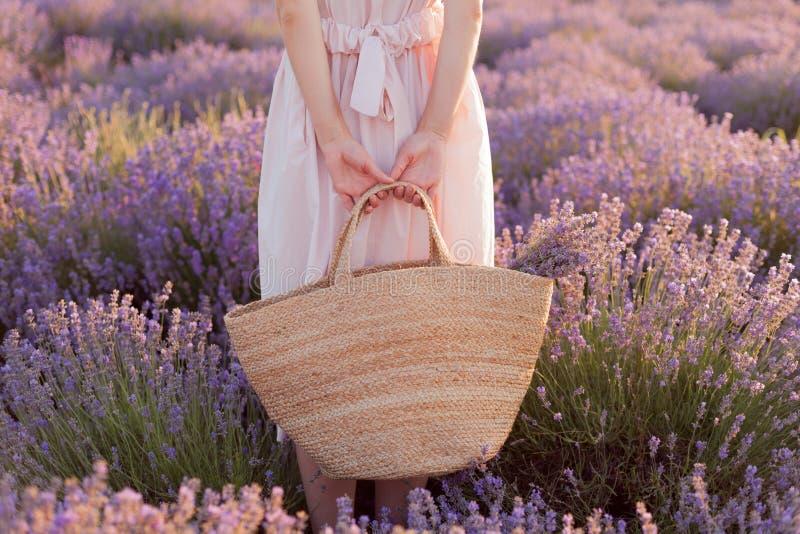 Mooi meisje die zich op het lavendelgebied bevinden die fedorahoed met grote zak in haar hand dragen royalty-vrije stock afbeelding
