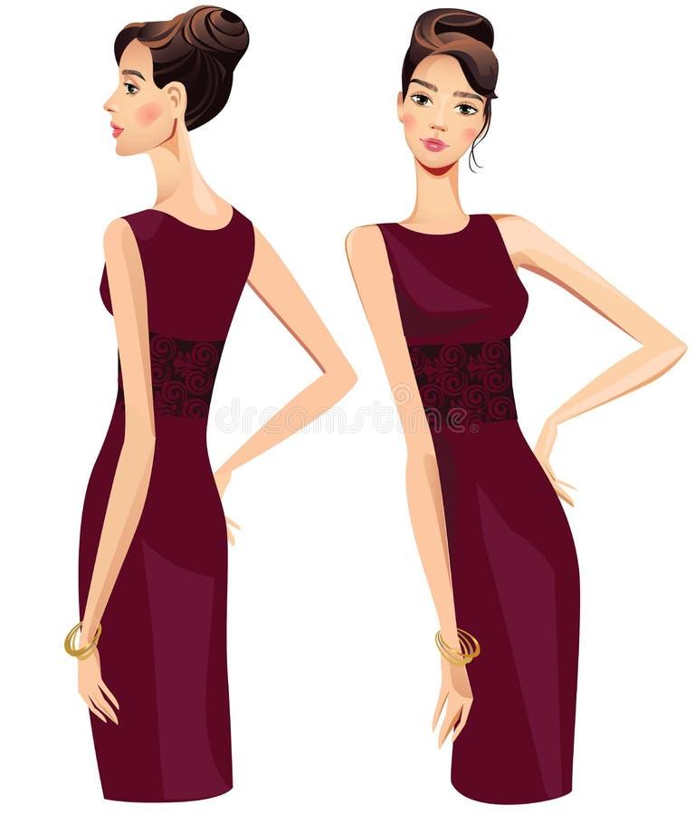 Mooi meisje in donkere kleding, profiel en rechtstreeks vector illustratie