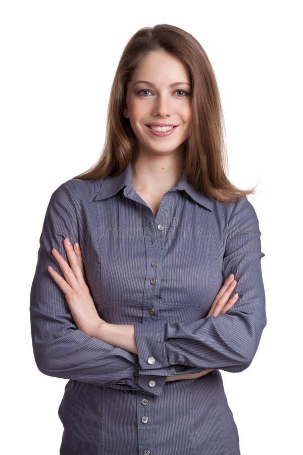 Mooi meisje in een blauw overhemd royalty-vrije stock foto's
