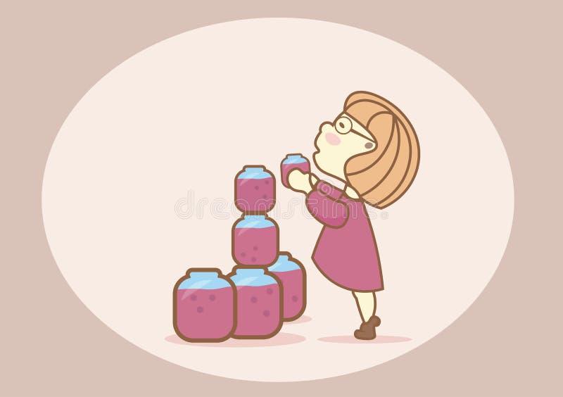 Mooi meisje in een korte kleding die een kruik jam proberen te krijgen royalty-vrije illustratie