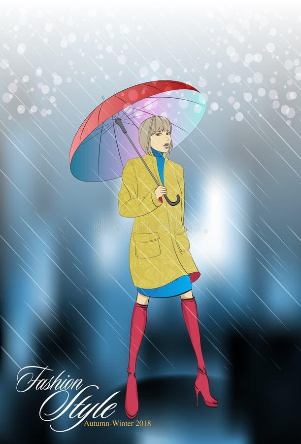 Mooi meisje in een laag met een paraplu royalty-vrije illustratie