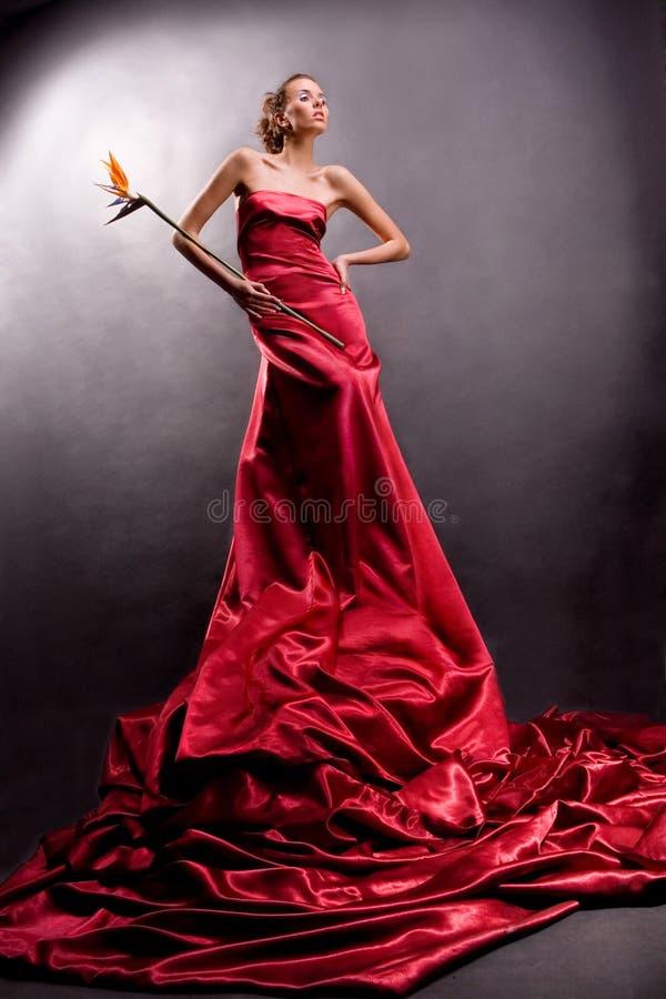 Mooi meisje in een lange rode kleding stock fotografie