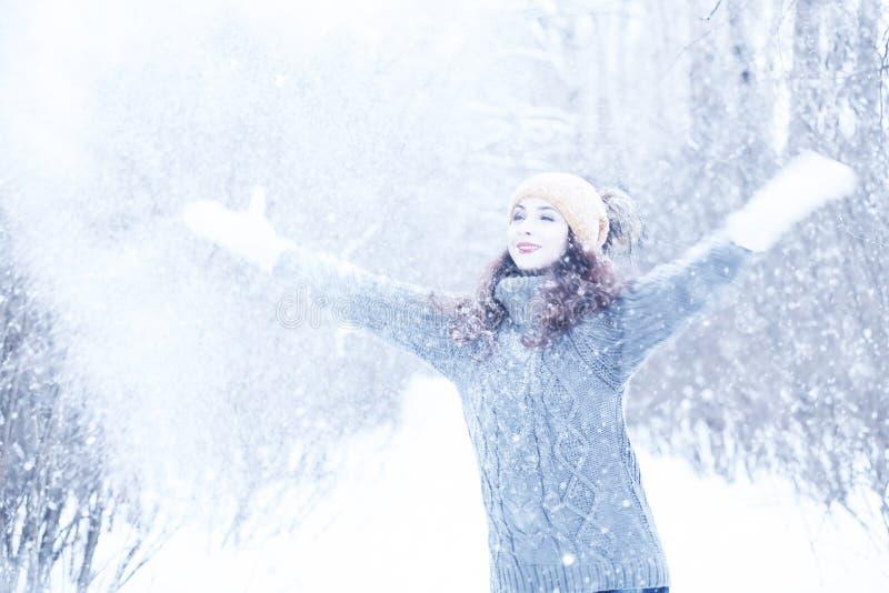 Mooi meisje in een mooie de wintersneeuw royalty-vrije stock foto