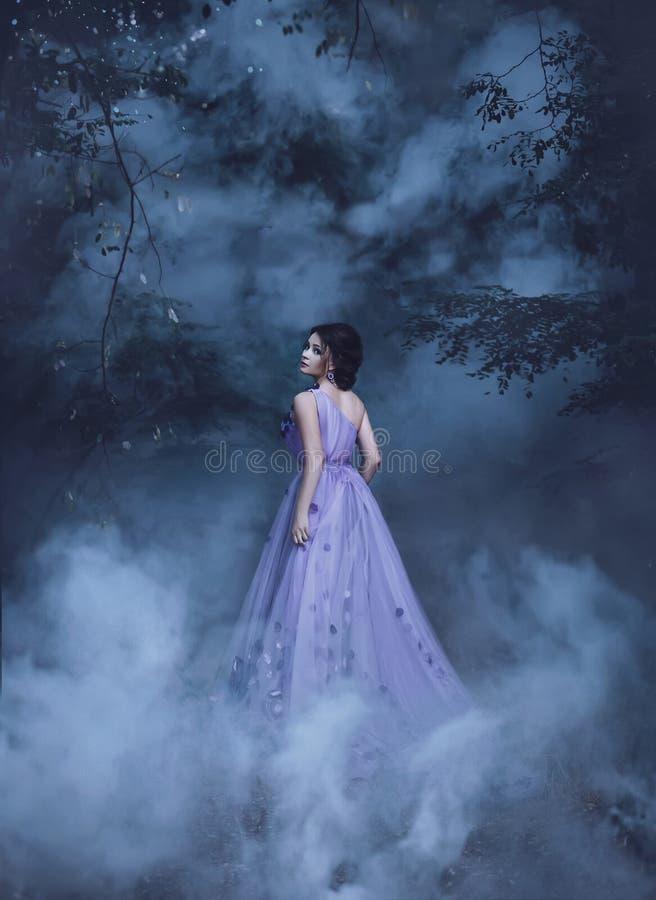 Mooi meisje in een purpere kleding stock afbeelding