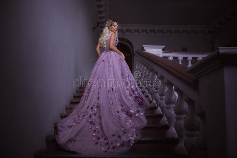 Mooi meisje in een purpere kleding royalty-vrije stock afbeelding