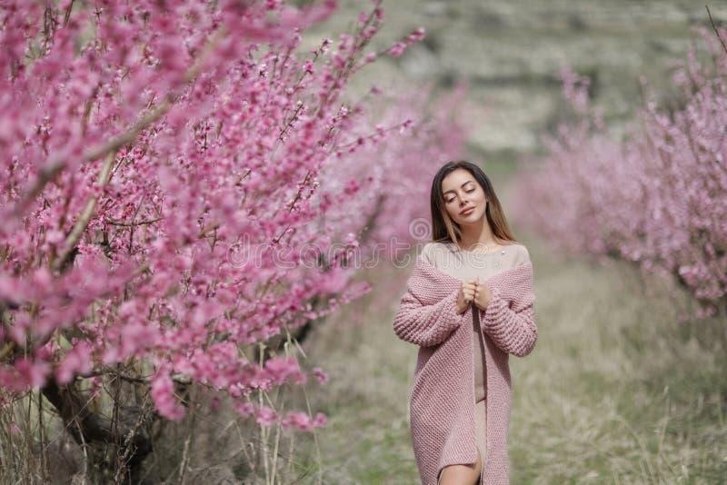 Mooi meisje in een uitstekende stijl in een fabelachtig purper park royalty-vrije stock afbeeldingen