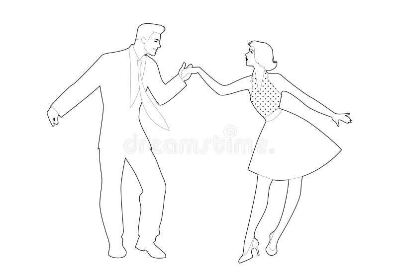 Mooi meisje en knappe mensen dansende rots, rockabilly, schommeling of lindy hop Overzichten vectorillustratie royalty-vrije illustratie