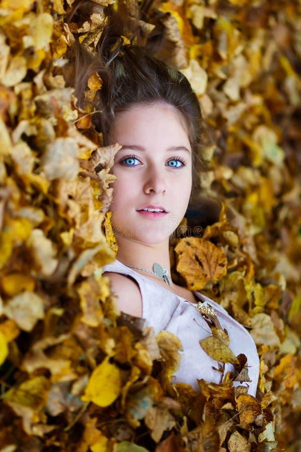 Mooi meisje in gele bladeren royalty-vrije stock foto's