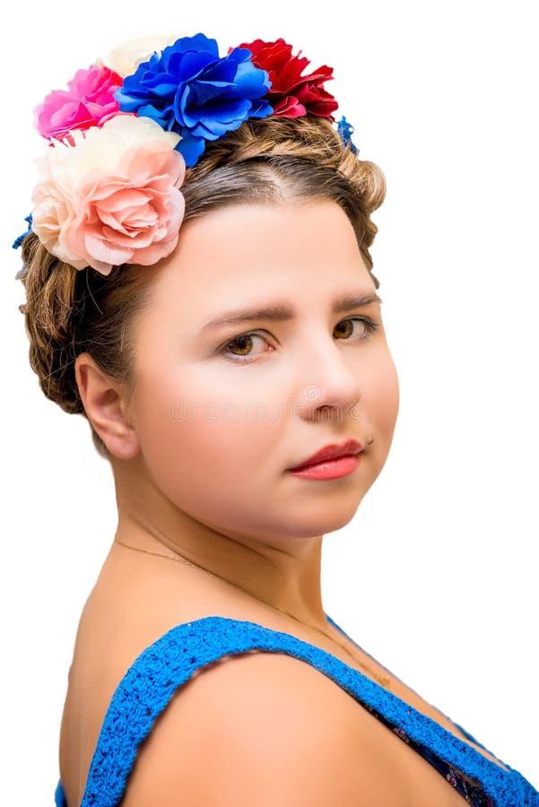 Mooi meisje in het beeld van Frida Kahlo royalty-vrije stock afbeeldingen