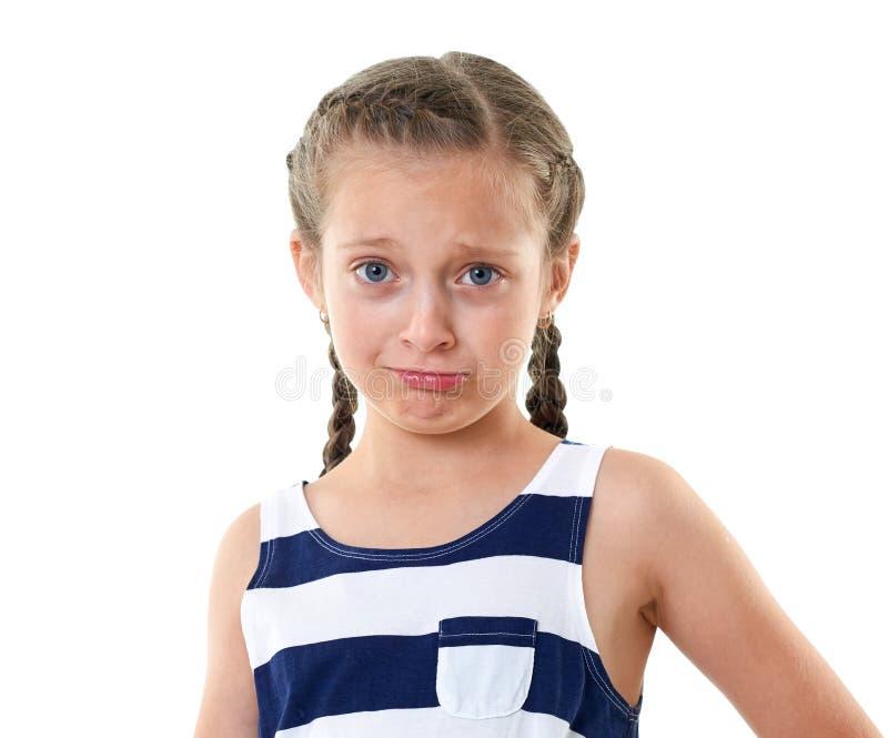 Mooi meisje in het gestreepte portret van de kledingsstudio, die een verrast gezicht, witte achtergrond maken royalty-vrije stock fotografie