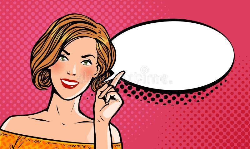 Mooi meisje of jonge vrouw met wijsvinger Speld-op concept Pop-art retro grappige stijl De vectorillustratie van het beeldverhaal stock illustratie
