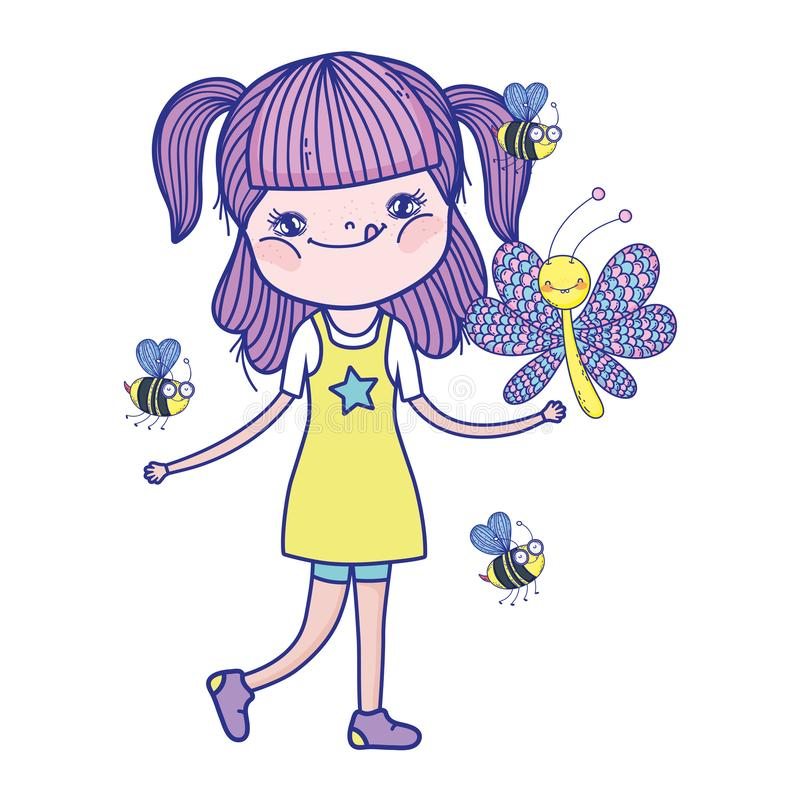 Mooi meisje met bijenkarakters stock illustratie