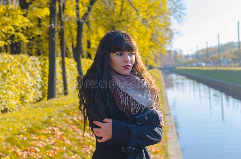 Mooi meisje met blauwe ogen in de herfstpark royalty-vrije stock afbeeldingen