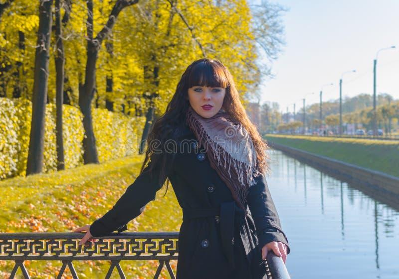 Mooi meisje met blauwe ogen in de herfstpark stock afbeelding