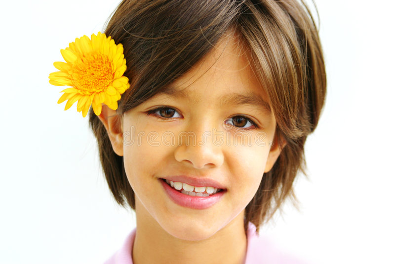 Mooi meisje met bloem stock foto's