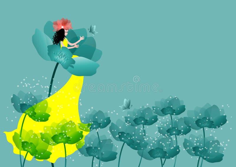 Mooi meisje met bloemen royalty-vrije illustratie
