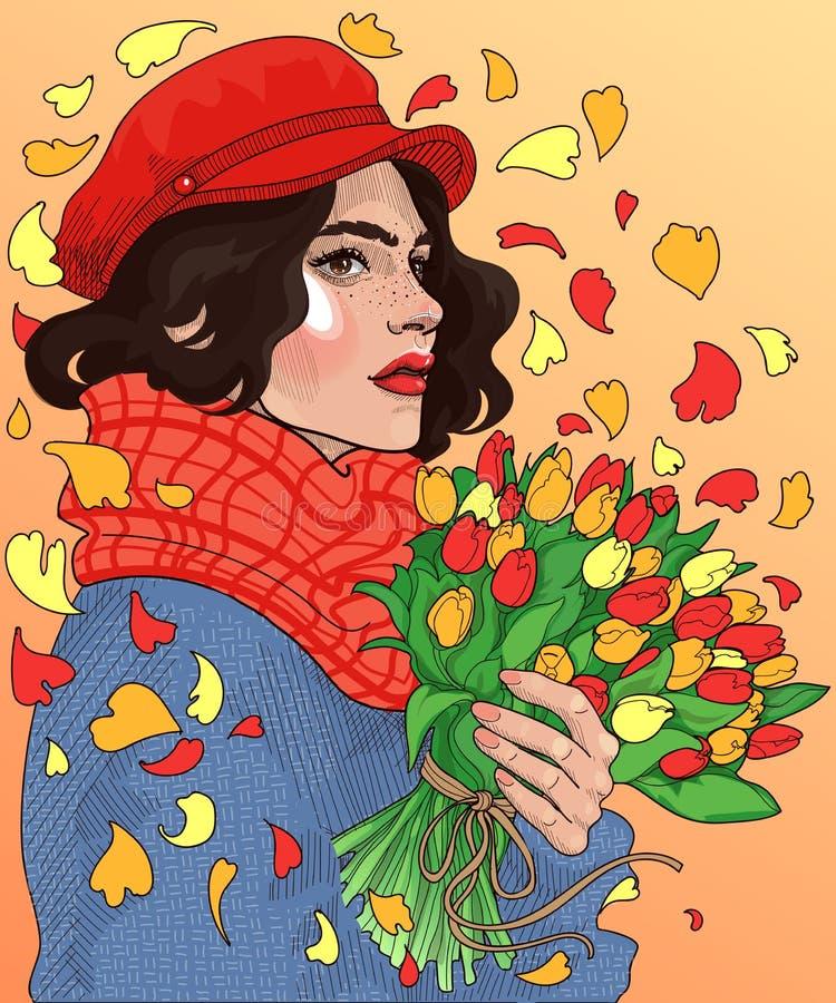 mooi meisje met boeketten van tulpen in handen stock foto's