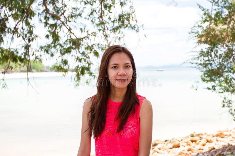 Mooi Meisje met Close-up van de vrouw van Azië het glimlachen stock foto's