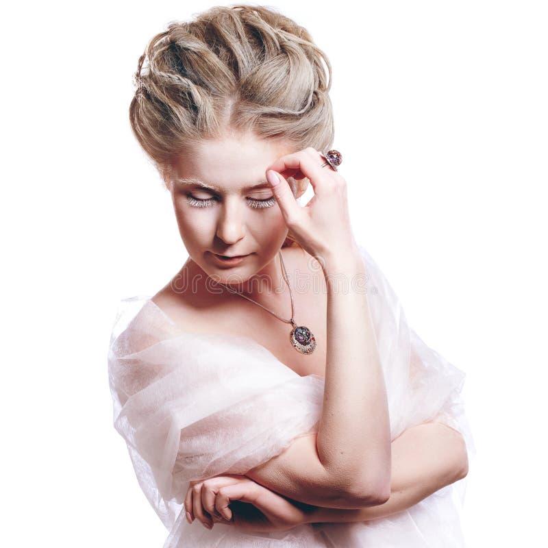 Mooi meisje met de make-up van glamourkerstmis royalty-vrije stock foto's