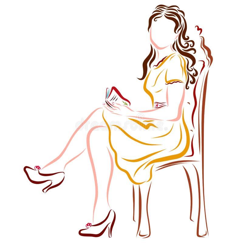 Mooi meisje met een boek of agenda in haar handen, op een stoel vector illustratie