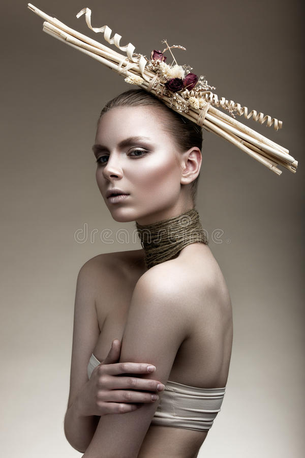 Mooi meisje met een bronshuid, een bleke make-up en ongebruikelijke toebehoren Het beeld van de kunstschoonheid Het Gezicht van d royalty-vrije stock afbeeldingen