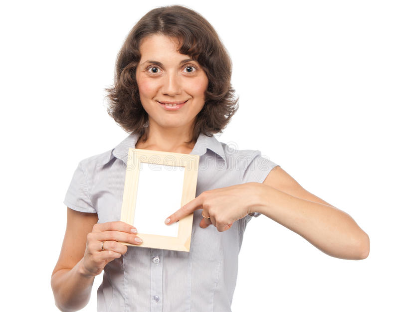 Mooi meisje met een fotoframe royalty-vrije stock afbeelding