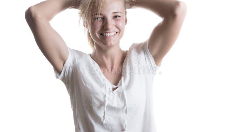 Mooi meisje met een glimlach stock afbeeldingen