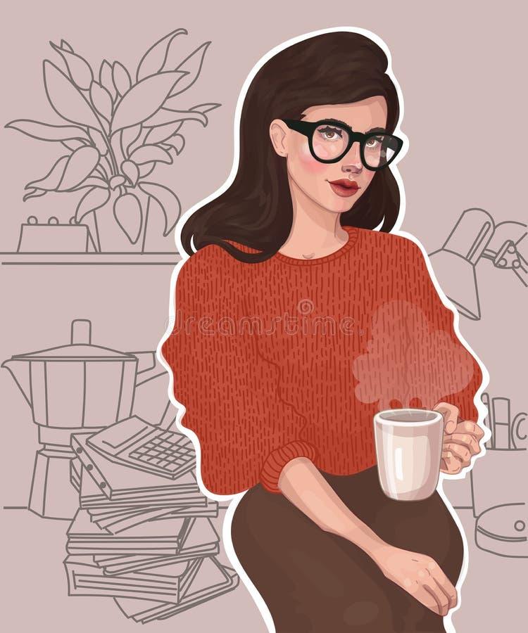 Mooi meisje met een kop in het bureau vector illustratie
