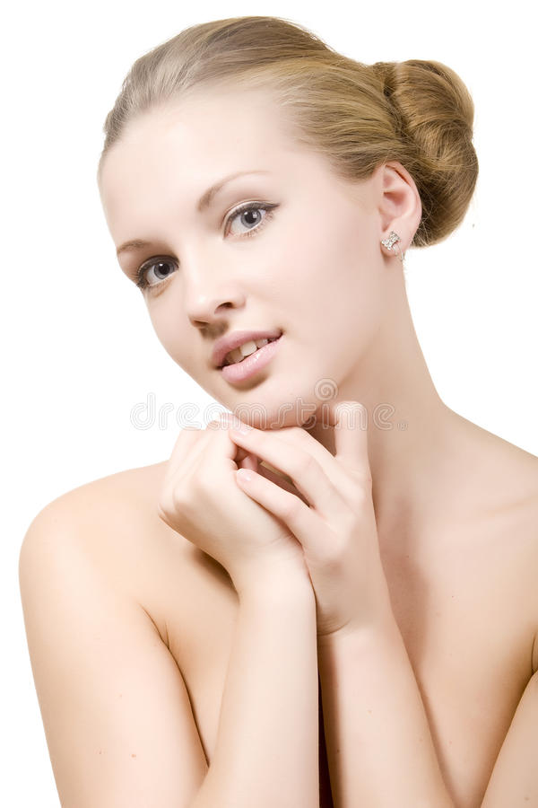 Mooi meisje met een schone huid stock fotografie