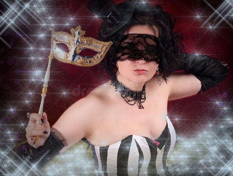 Mooi meisje met een Venetiaans masker royalty-vrije stock foto's