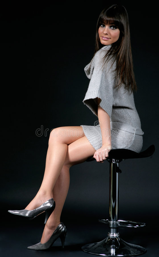 Mooi meisje met fringe_2 royalty-vrije stock afbeelding