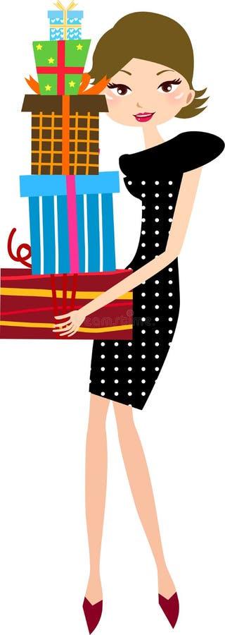 Mooi meisje met giften in handen royalty-vrije illustratie