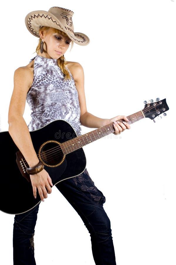 Mooi meisje met gitaar royalty-vrije stock fotografie