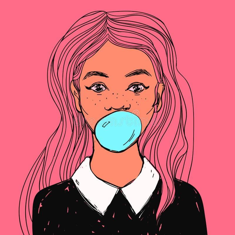 Mooi meisje met kauwgom, lang haar en administratief Vectorhand getrokken pop-artillustratie stock illustratie