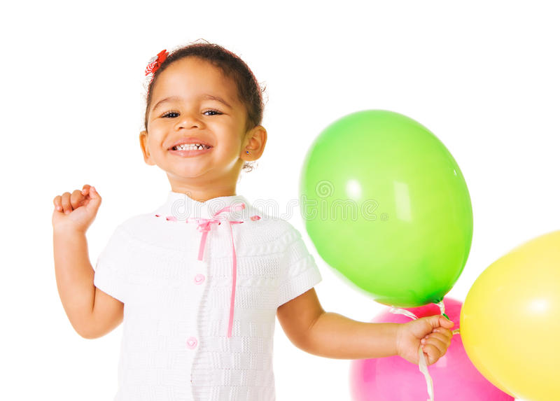 Mooi meisje met kleurrijke ballons royalty-vrije stock afbeelding