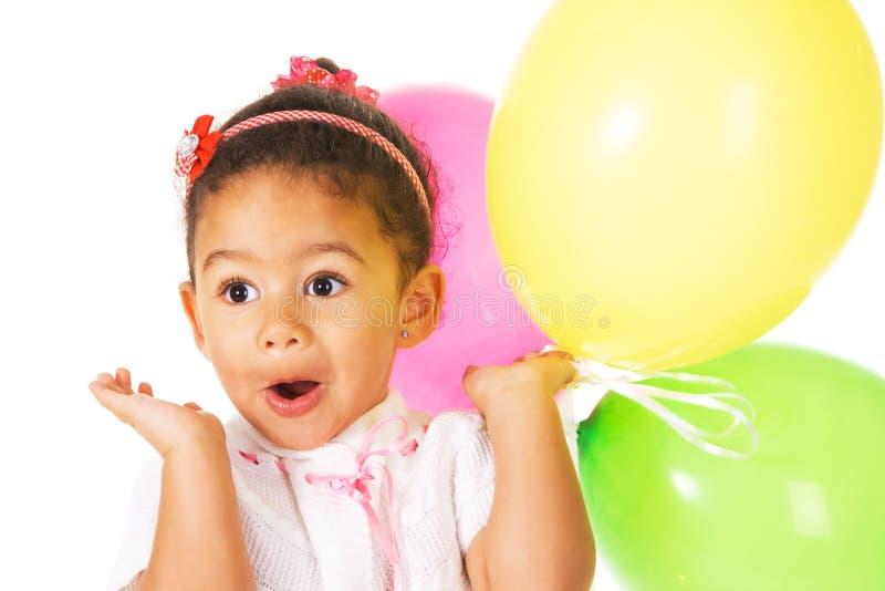 Mooi meisje met kleurrijke ballons stock fotografie