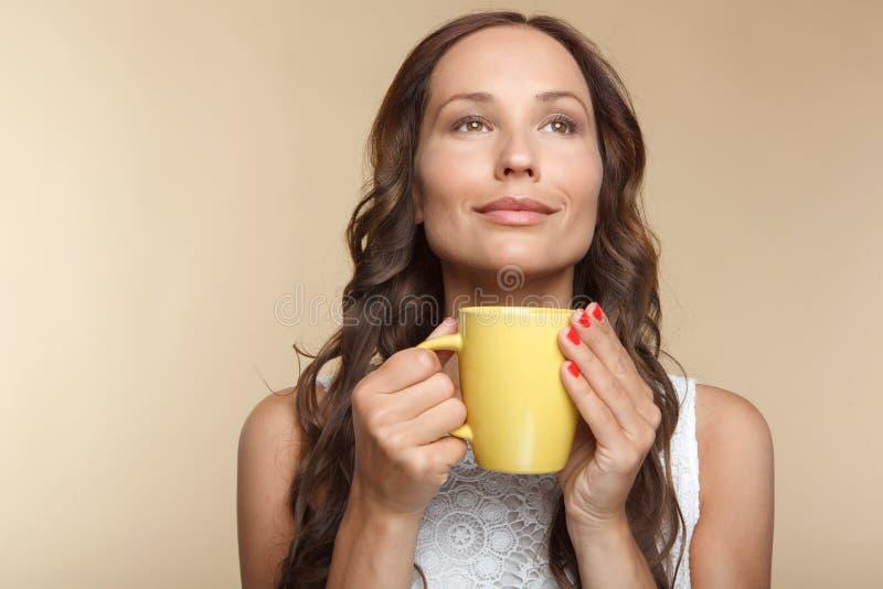Mooi meisje met kop thee stock fotografie