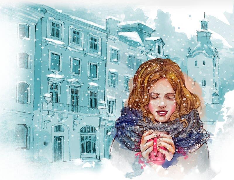 Mooi meisje met kop van hete koffie of thee Oldcityachtergrond De illustratie van de waterverf stock illustratie